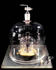 A replica of the IPK, kept under three glass bells.